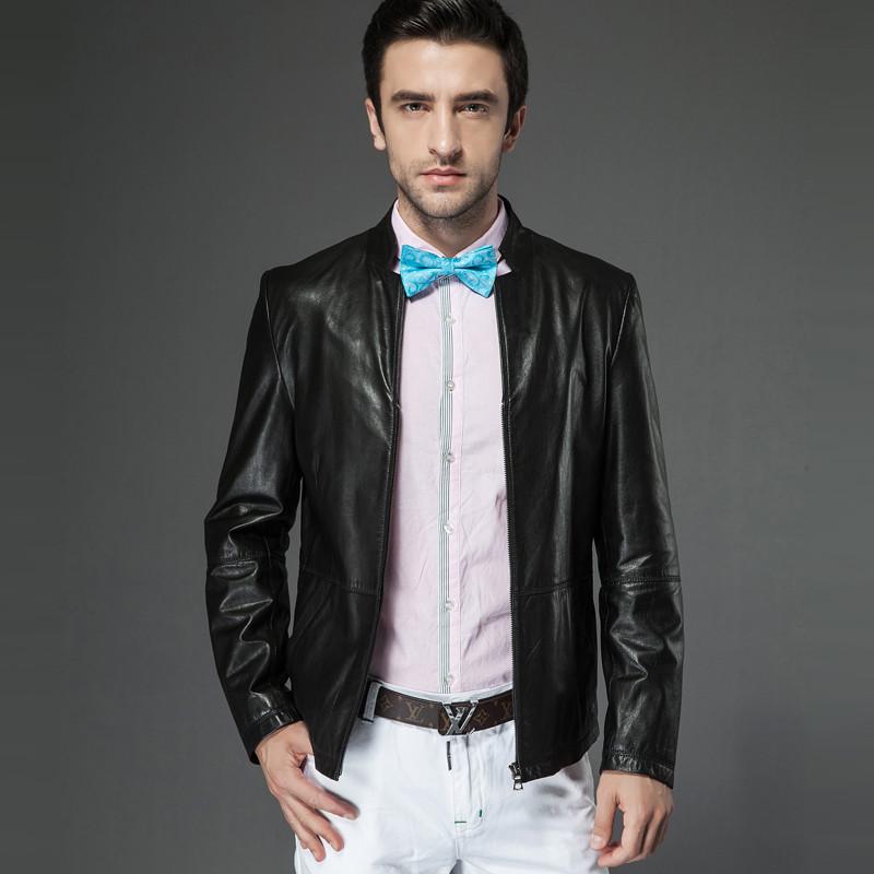 新款男士短款真皮皮衣外套绵羊皮休闲时尚皮夹克皮装植鞣皮