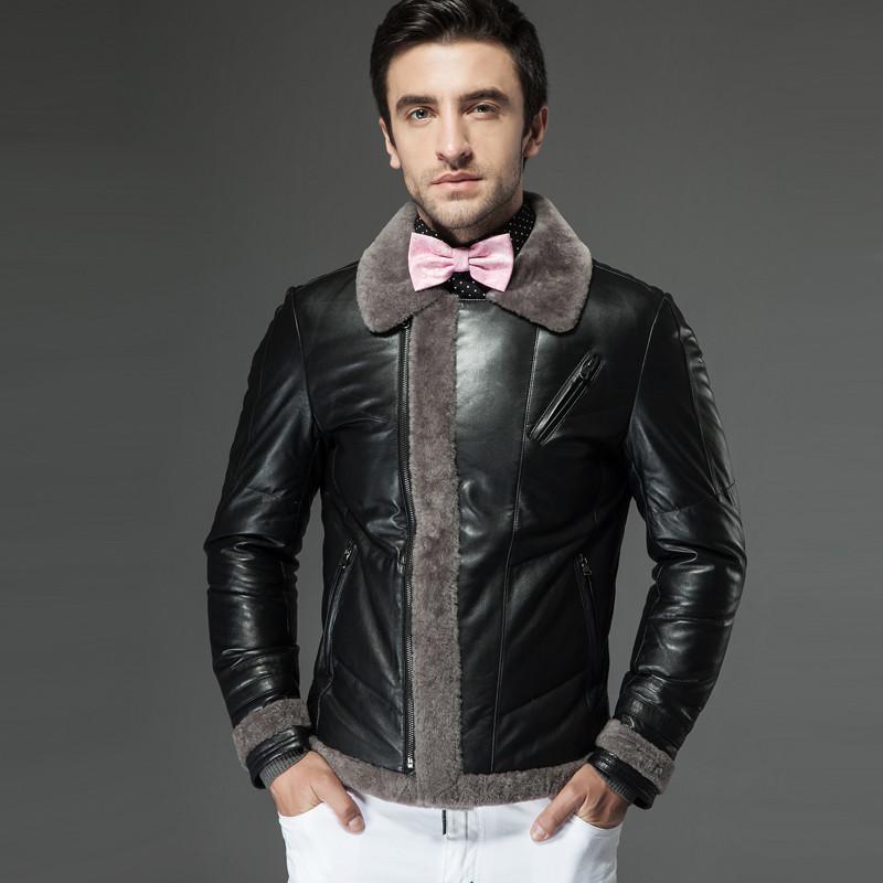 名皮网2013新款英伦风男士高档美利奴羊毛拼接真皮绵羊皮短款羽绒外套
